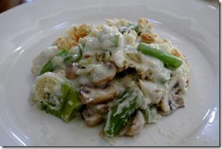 Broccoli Stalk Gratinee, with leeks and mushrooms