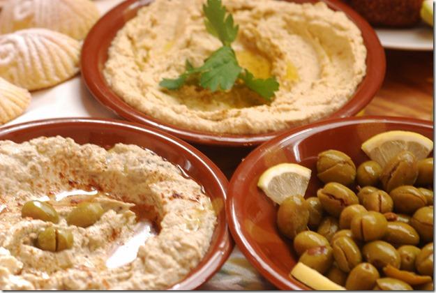 Elena's Homous, Baba Ghanoush & Crushed olives