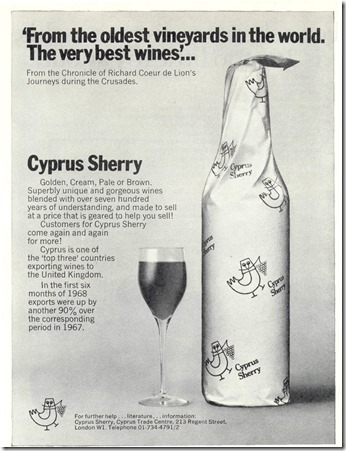 Sherry, Cyprus Ad WINE Nov-Dec 1968